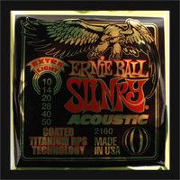 Ernie Ball Extra Light Slinky Coated Bronze Guitar Strings .010 - .050